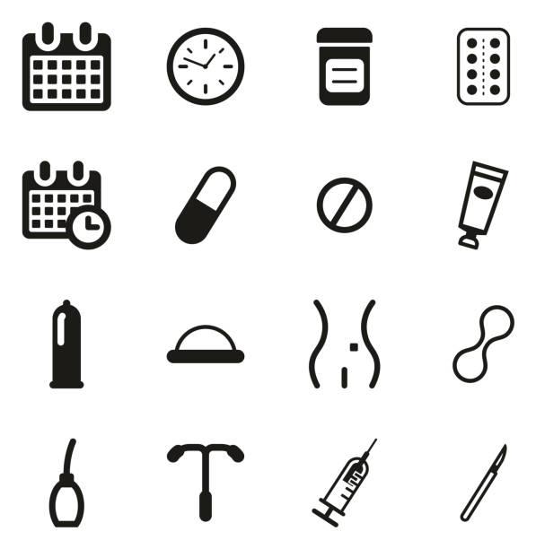 illustrations, cliparts, dessins animés et icônes de icônes de méthodes de contraception - planning familial