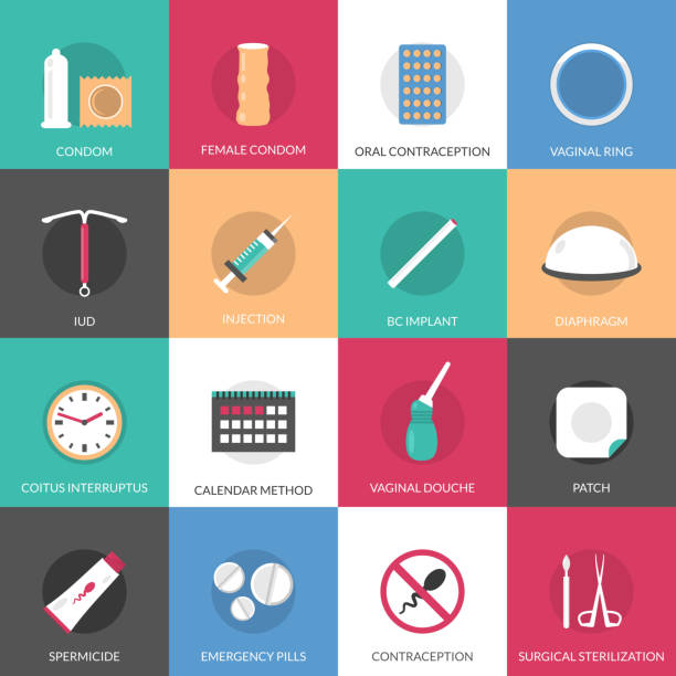 contraception methods icons Contraception methods square icons set with calendar injection and oral contraception symbols flat isolated vector illustration hormone stock illustrations