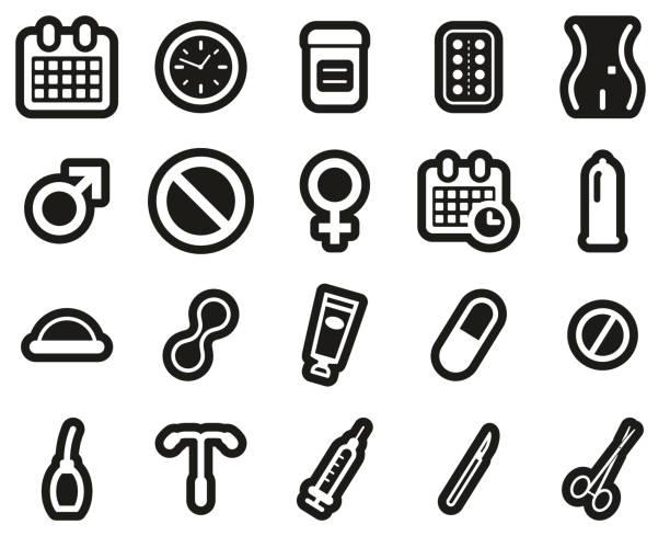 Contraception Methods Icons White On Black Sticker Set Big Contraception Methods Icons Black & White Set Big spermicide stock illustrations