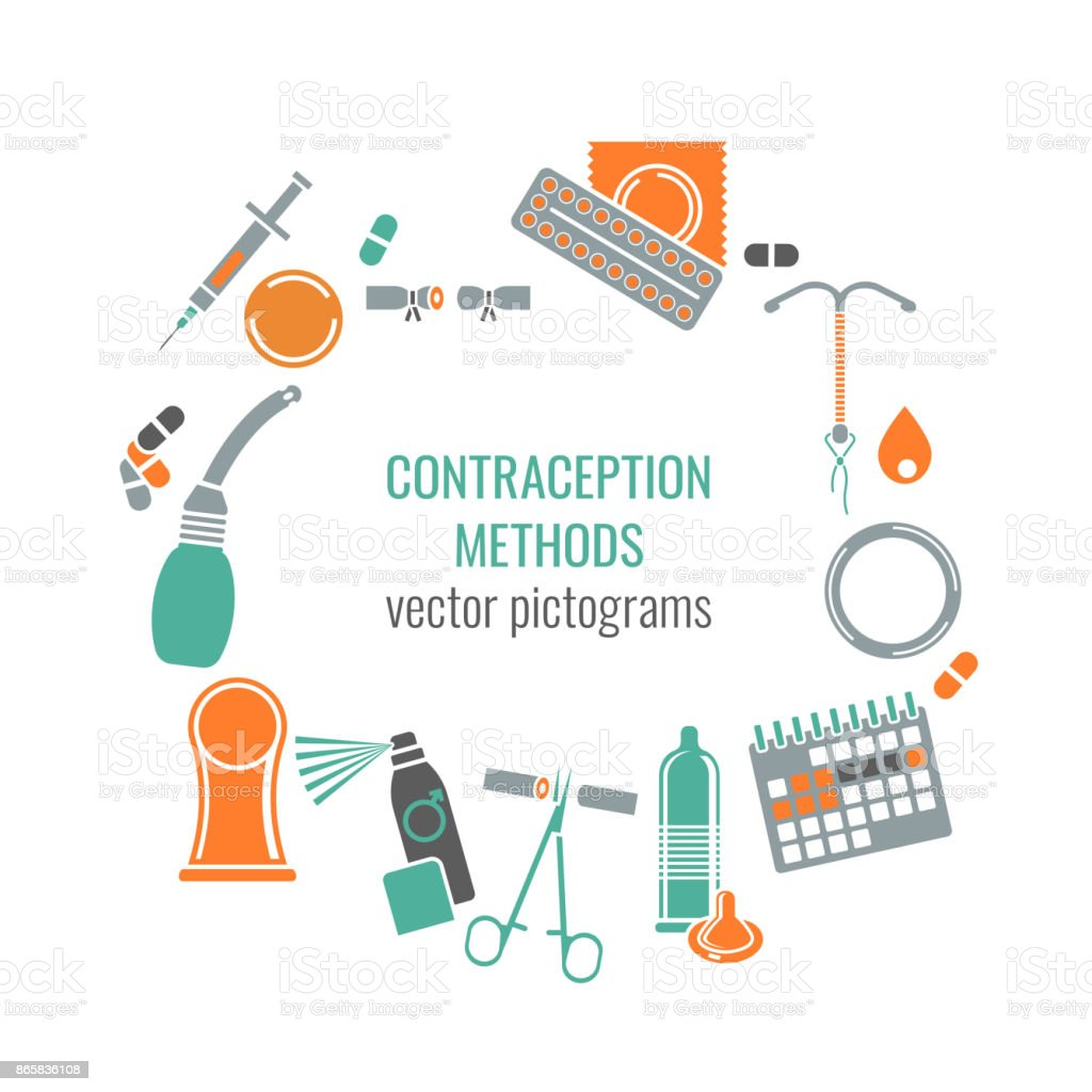 Contraception methods image vector art illustration