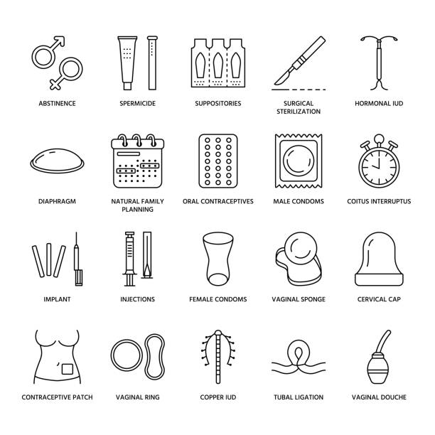 Contraceptive methods line icons. Birth control equipment, condoms, oral contraceptives, iud, barrier contraception, vaginal ring, sterilization. Safe sex thin linear signs for medical clinic Contraceptive methods line icons. Birth control equipment, condoms, oral contraceptives, iud, barrier contraception, vaginal ring, sterilization. Safe sex thin linear signs for medical clinic. spermicide stock illustrations