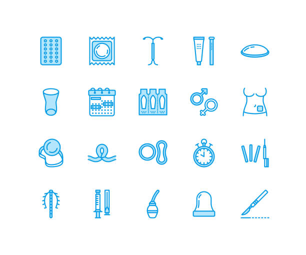 contraceptive methods line icons. birth control equipment, condoms, oral contraceptives, iud barrier contraception, vaginal ring, sterilization. safe sex signs for medical clinic. pixel perfect 64x64 - family planning stock illustrations, clip art, cartoons, & icons