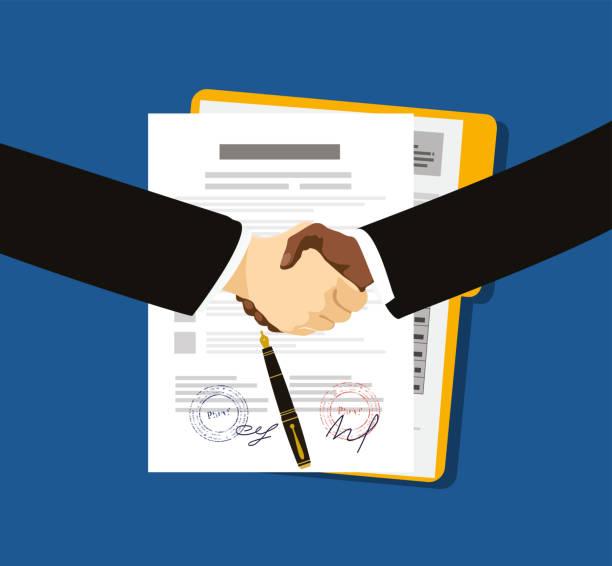 stockillustraties, clipart, cartoons en iconen met contract overeenkomst platte business illustratie vector - lang lengte