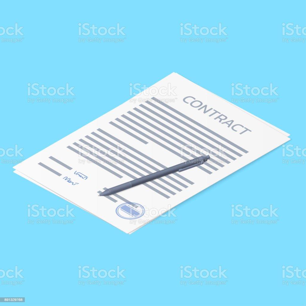 Vertrag Vereinbarung Papier Mit Stempel Unterschrift Und Stift Leer ...