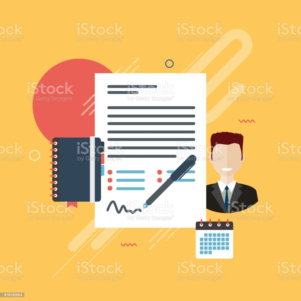 Contract agreement signature. vector art illustration