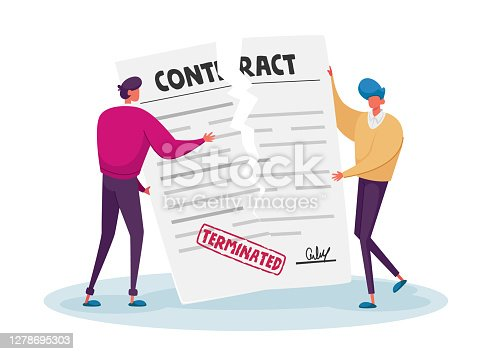 istock Contract Cancellation, Agreement Termination Concept. Couple of Tiny Male Characters Tearing Huge Paper Contract Sheet 1278695303