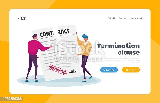 istock Contract Cancellation, Agreement Termination Landing Page Template. Tiny Characters Tear Huge Paper Terminated Contract 1279896088