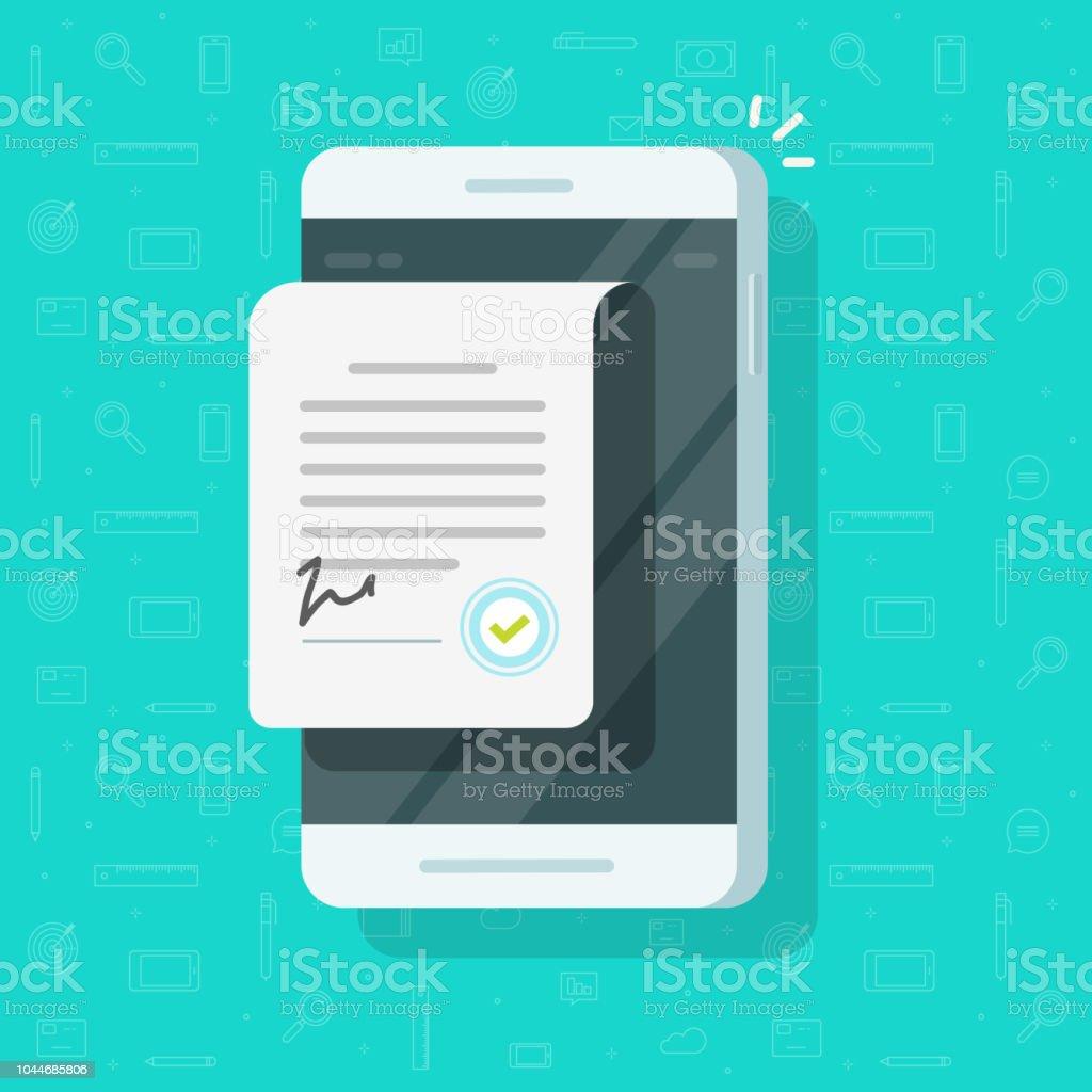 Vertrag Dokument auf Smartphone-Vektor-Illustration, Cartoon Vereinbarung Dokument auf dem Handy mit Unterschrift und Genehmigung Stempel, Geschäft legal Doc flat und Handy Clipart anmelden – Vektorgrafik