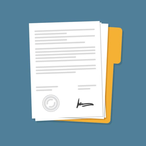stockillustraties, clipart, cartoons en iconen met pictogram voor document documenten van contract documenten - menselijk lichaamsdeel