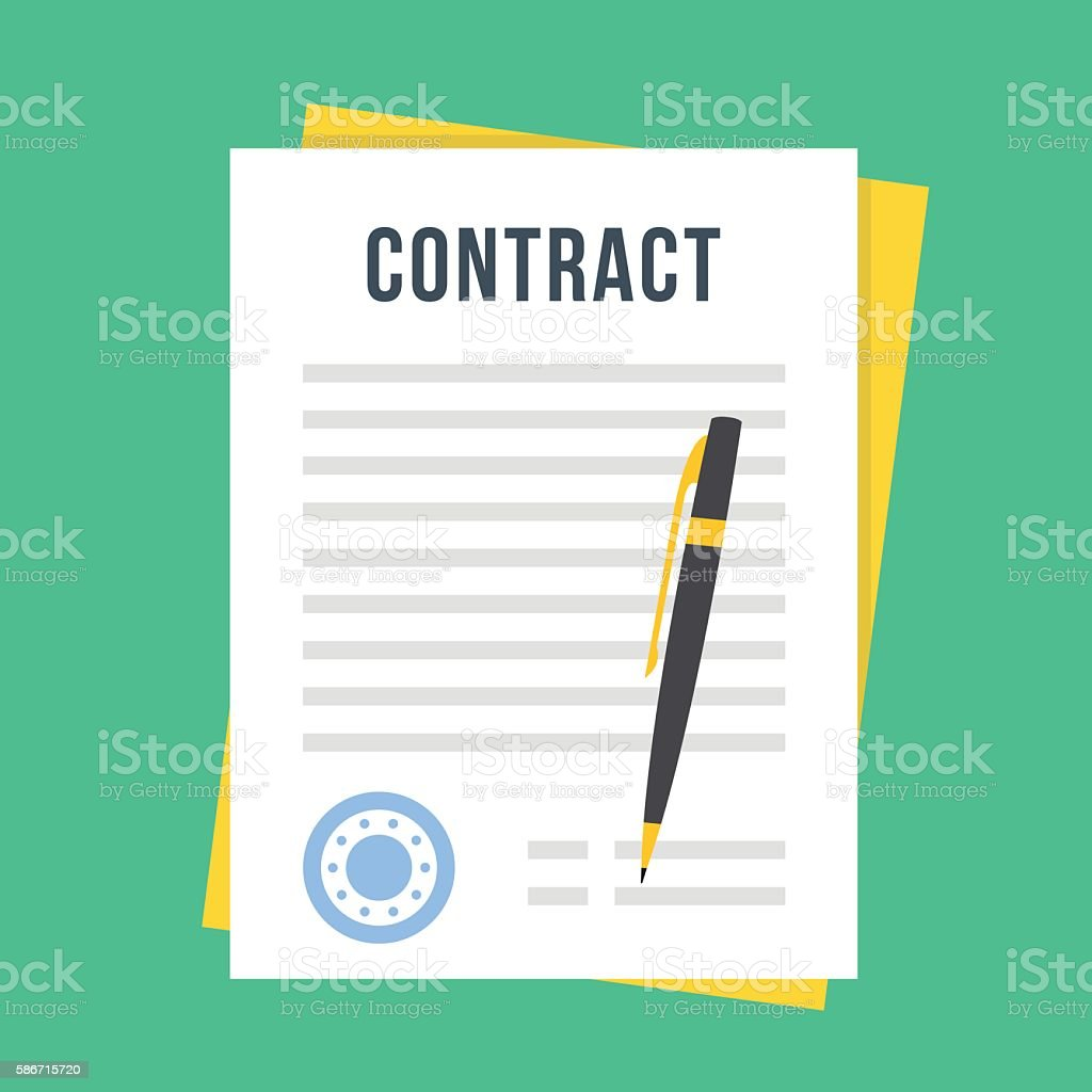 Contract document with rubber stamp, pen. Sign contract. Vector illustration - ilustração de arte em vetor