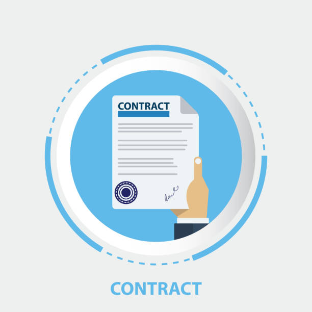 illustrations, cliparts, dessins animés et icônes de document contractuel avec timbre en caoutchouc, signent un contrat - notaire