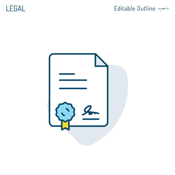 illustrations, cliparts, dessins animés et icônes de icône de contrat, icône de document légal, lettre de contrat, certificat d'accomplissement, dossiers de bureau d'entreprise, course éditable - notaire