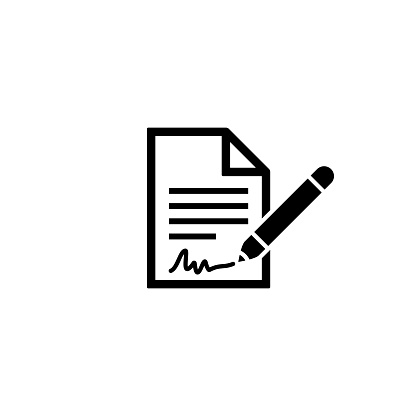 Contract icon with signature. Business concept. Vector on isolated white background. EPS 10.