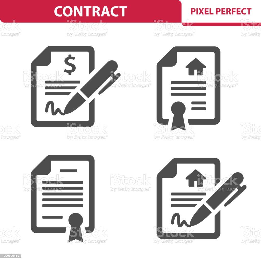 Ícones do contrato - ilustração de arte em vetor
