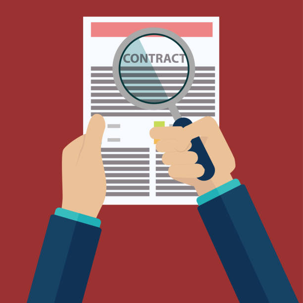 illustrazioni stock, clip art, cartoni animati e icone di tendenza di contract inspection concept - hand holding magnifying glass over a contract - flat style - appalti pubblici
