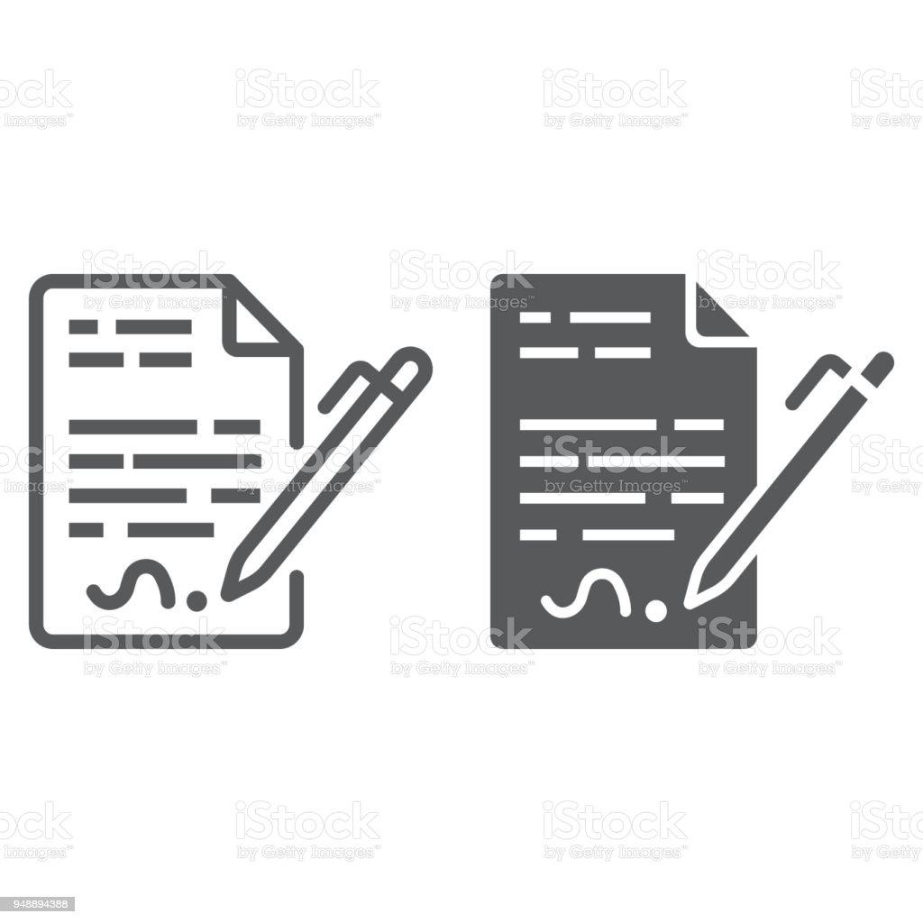 Vertraglinie Und Glyphsymbol Vereinbarung Und Unterschrift