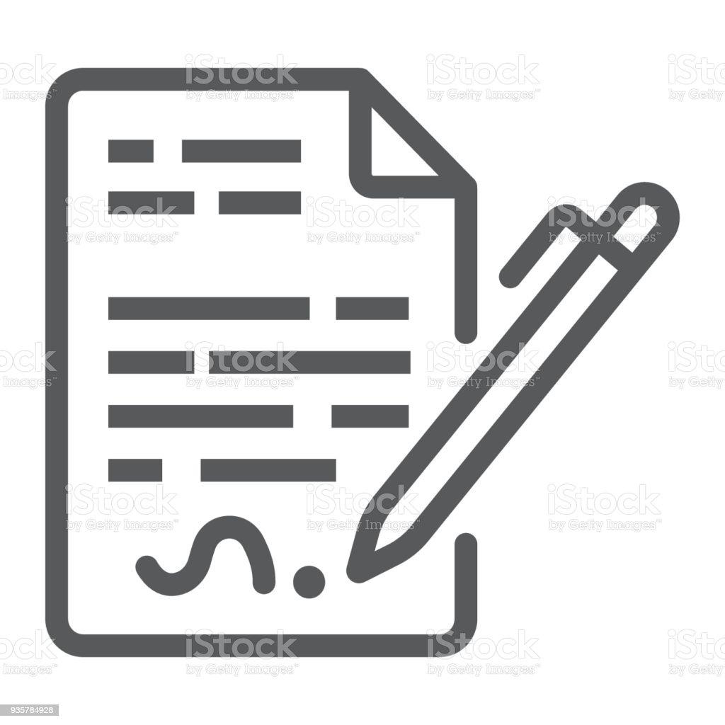 Liniensymbol Vertrag Abkommen Und Unterschrift Zeichenvektorgrafiken