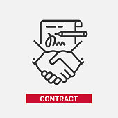 Contract - modern vector line design single icon.