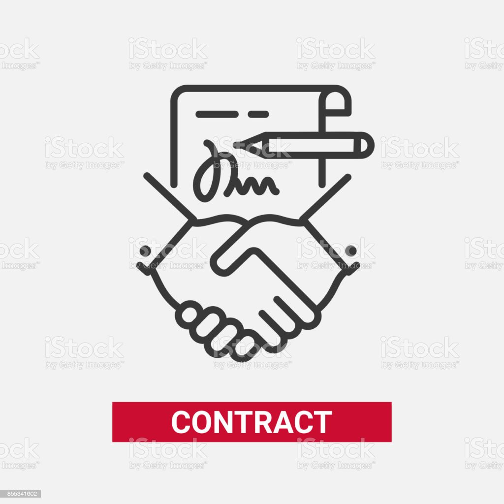 Contract - modern vector line design single icon. vector art illustration
