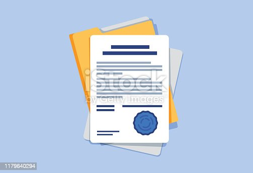 istock Contract or document signing icon. Document, folder with stamp and text. Contract conditions, research approval 1179640294