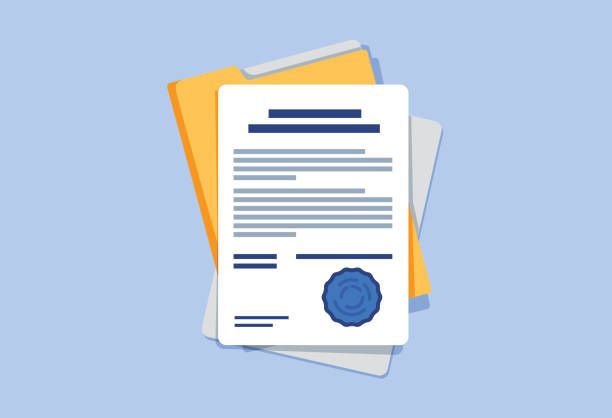 Contract or document signing icon. Document, folder with stamp and text. Contract conditions, research approval Contract or document signing icon. Document, folder with stamp and text. Contract conditions, research approval validation document. Contract papers. Document. Folder with stamp and text. document stock illustrations