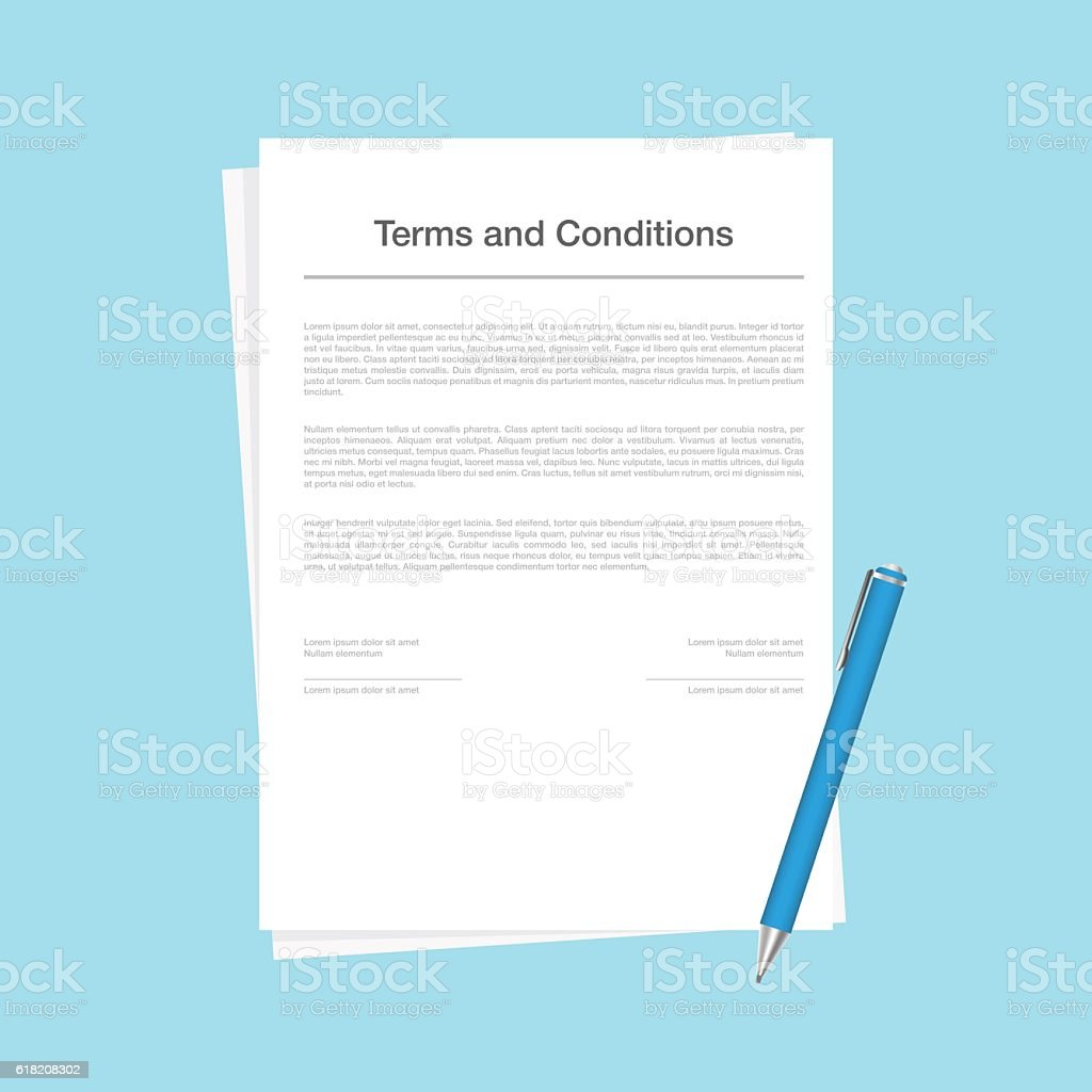 Contract Or Terms And Conditions Document Isolated On Blue ...