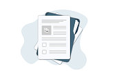 istock Contract papers. Document. Folder with stamp and text. Contract signing. Contract agreement memorandum of understanding legal document stamp seal, concept for web banners, websites, infographics. 1191488245
