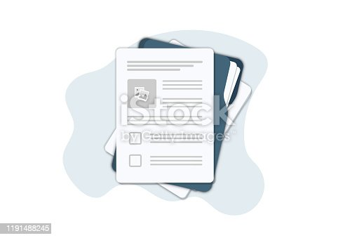 Contract papers. Document. Folder with stamp and text. Contract signing. Contract agreement memorandum of understanding legal document stamp seal, concept for web banners, websites, infographics.