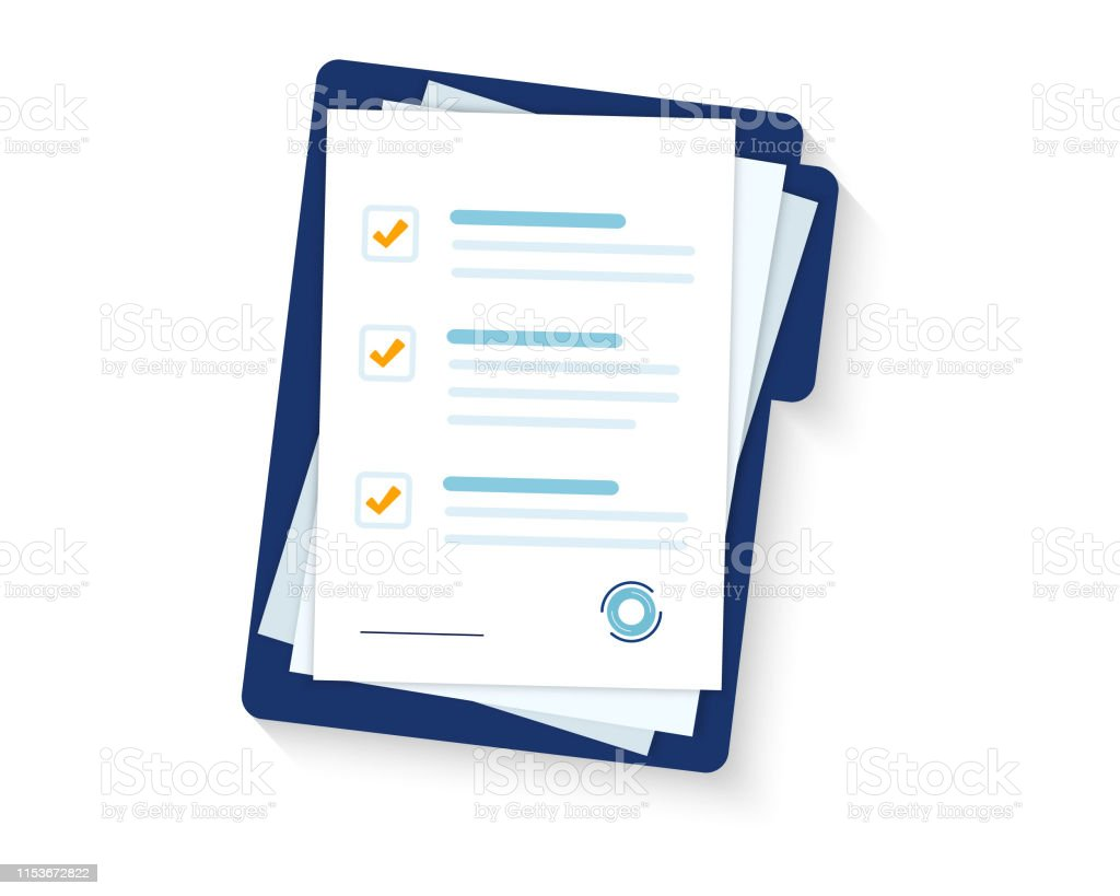 Contract papers. Document. Folder with stamp and text. Stack of agreements document with signature and approval stamp. Folder and stack of white papers - Grafika wektorowa royalty-free (Akta)