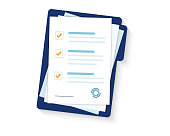 istock Contract papers. Document. Folder with stamp and text. Stack of agreements document with signature and approval stamp. Folder and stack of white papers 1153672822