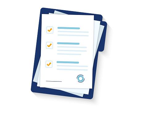 Contract Papers Document Folder With Stamp And Text Stack Of Agreements Document With Signature And Approval Stamp Folder And Stack Of White Papers - Stockowe grafiki wektorowe i więcej obrazów Akta