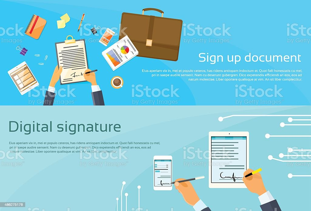 Contract Sign Up Paper Document Businessman Agreement Digital Signature vector art illustration