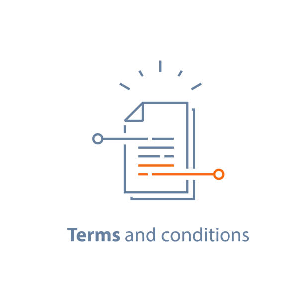 Contract terms and conditions, document paper, writing and storytelling concept, brief summary Contract terms and conditions, document paper, creative writing, storytelling concept, read brief summary, assignment, vector line icon, thin stroke illustration condition stock illustrations