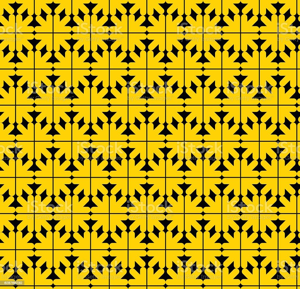 Contrast abstract seamless pattern with yellow arrows. Vector vector art illustration