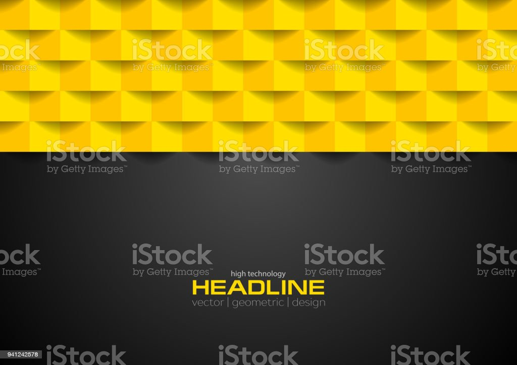 Contrast black and orange geometric technology background vector art illustration