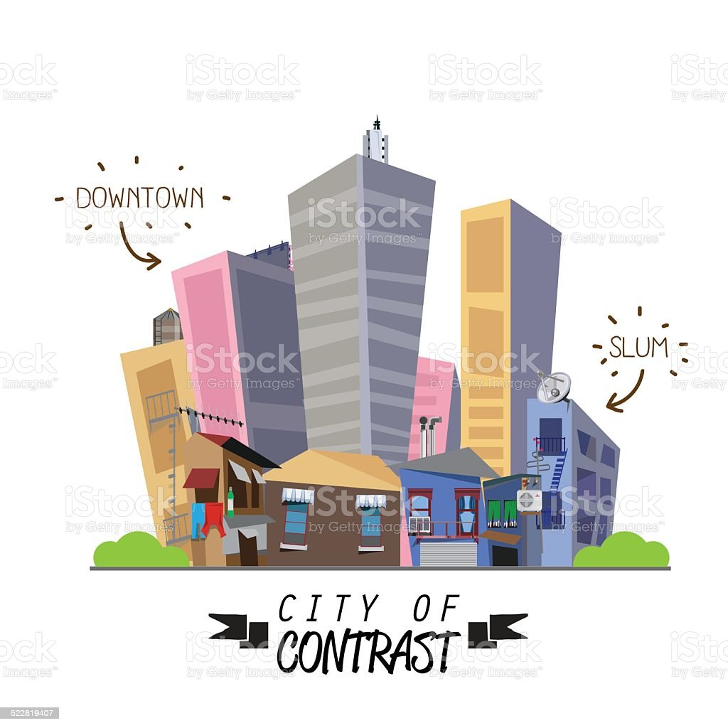 contrast city between downtown and slum. difference - vector illustration vector art illustration