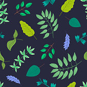 Contrast floral seamless pattern with delicate cartoon leaves and branches on dark blue background. Lovely nature texture with greenery and herbs for textile, wrapping paper, surface, wallpaper
