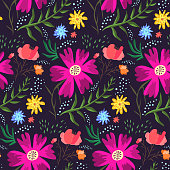 Contrast floral summer seamless pattern of rich colors. Bright cartoon hand drawn texture with pink, blue and orange flowers, leaves, waterdrops for textile, wrapping paper, print design, surface