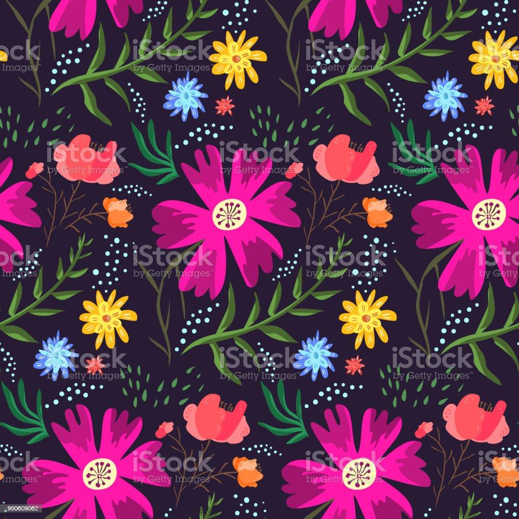 Contrast floral summer pattern of rich colors vector art illustration