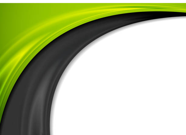 Contrast green and black waves abstract background vector art illustration