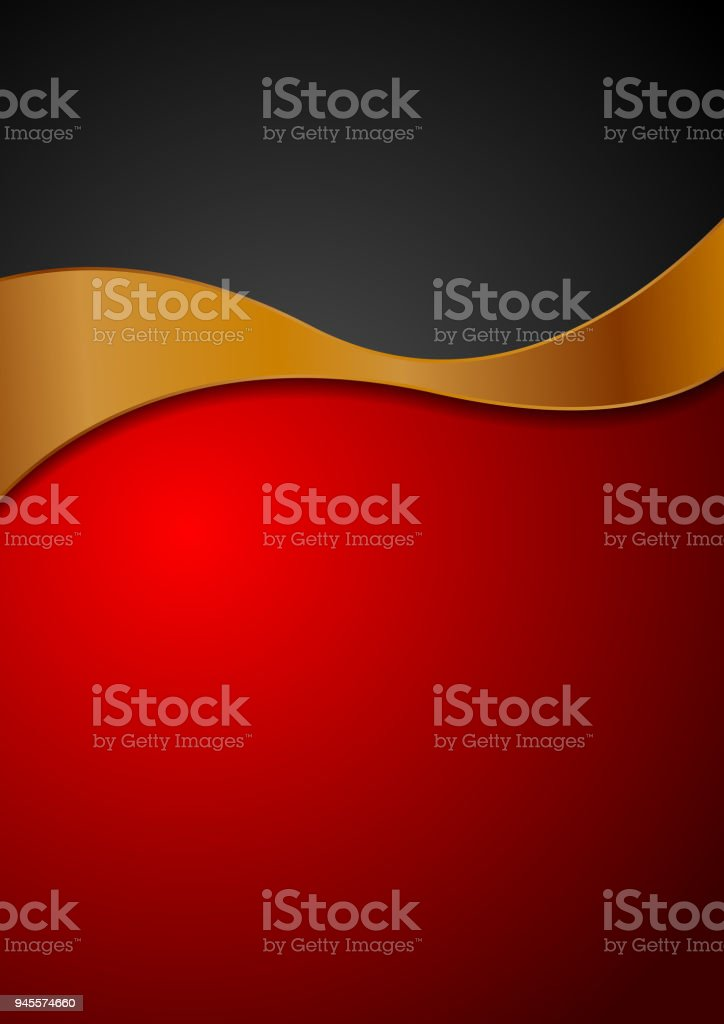 Contrast red black background with bronze wave vector art illustration