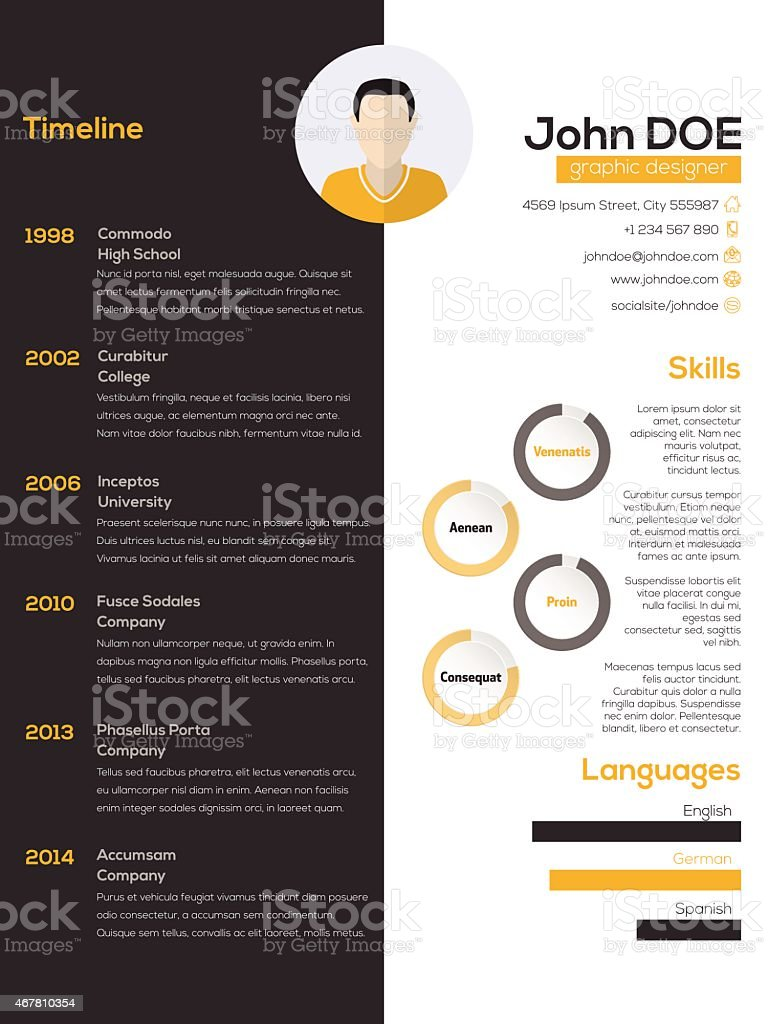 contrast resume cv design stock illustration