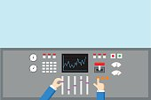 Control and Regulation concept. Hands operated  panel - flat vector