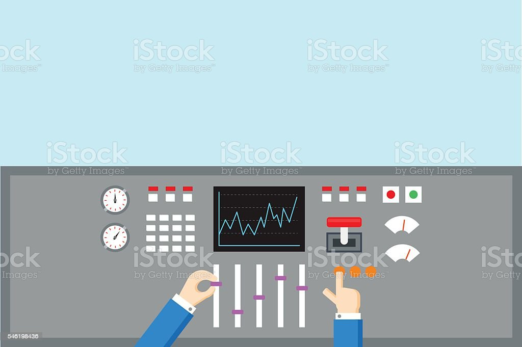 Control and Regulation concept. Hands operated  panel - flat vector vector art illustration