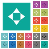 Control arrows square flat multi colored icons