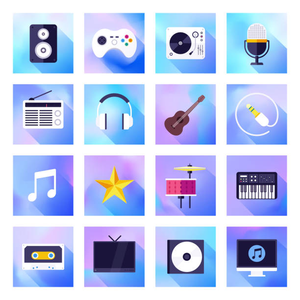 bildbanksillustrationer, clip art samt tecknat material och ikoner med kontroll, curation & musikalisk upplevelse holografisk gradient stil vector flat ikon uppsättning - creative curation