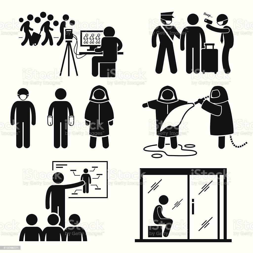 Control Diseases Virus Transmission Outbreak Pictogram Cliparts vector art illustration