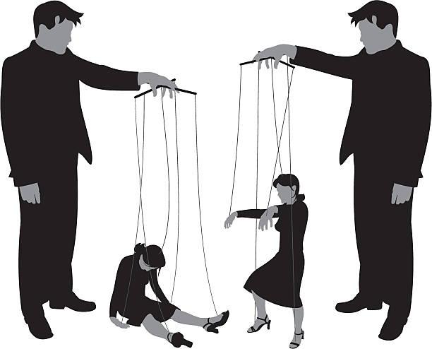 kontrola zakręcony - marionetka stock illustrations