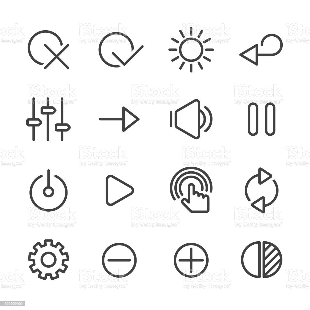 Control Icons Set - Line Series vector art illustration