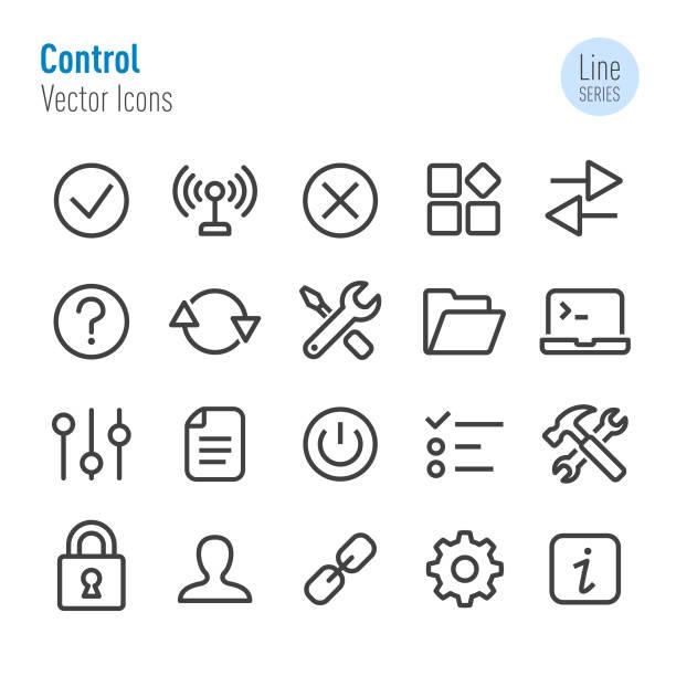 stockillustraties, clipart, cartoons en iconen met controle icons - vector line serie - dossier